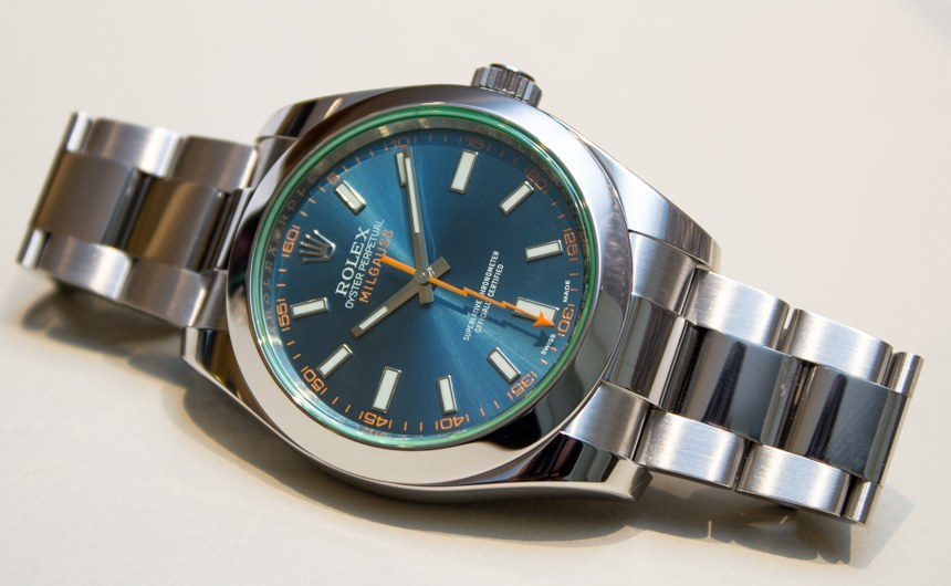 Rolex Milgauss Z Blue Dial 116400GV Watch Hands